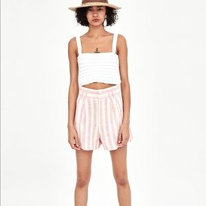 Zara striped high waisted shorts